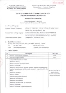 Запрос бизнес-сертификата вьетнамской компании
