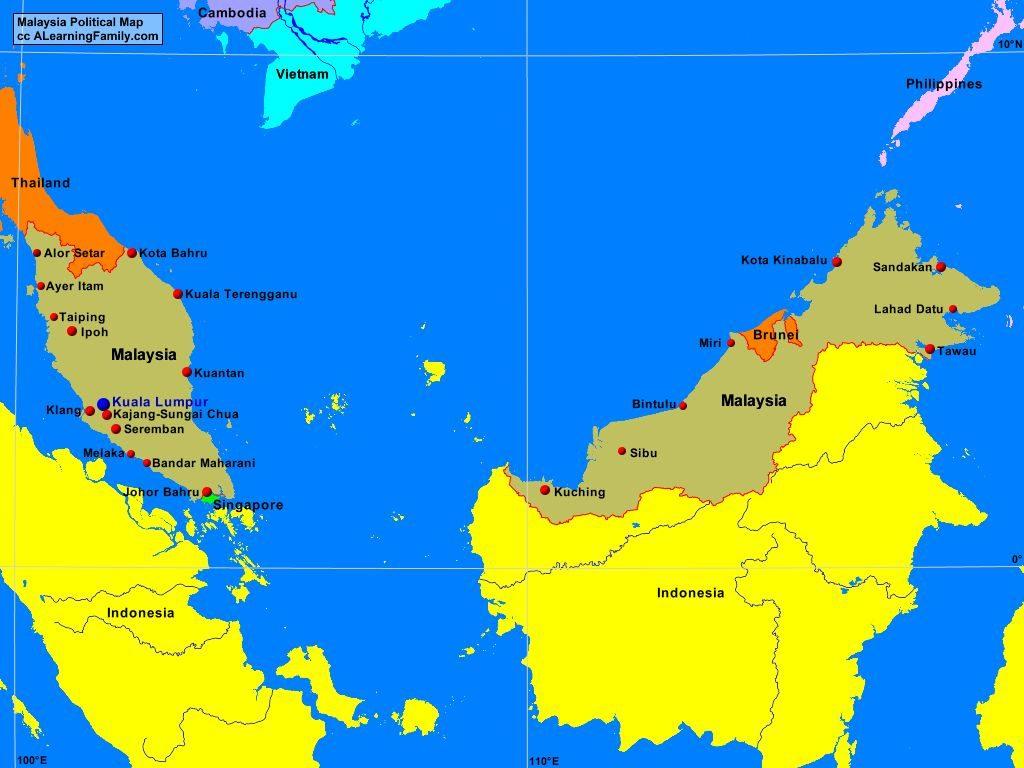 Малайзия - политическая карта